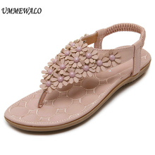 3772d9b4b71 Ummewalo Sandal Wanita T-Tali Sandal Jepit Flat Sandal Bunga Gladiator  Sandal Musim Panas Sepatu Zapatos Mujer