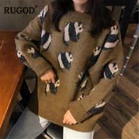 RUGOD 2019 jesienno-zimowa moda Panda kobiety O-neck długi sweter z rękawem panie Cartoon drukuje swetry sweter damski