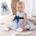 Girl Kids Cotton Top Bow Knot Plaids Dress Outfit Baby Toddler Clothes 0-3 Years Hot