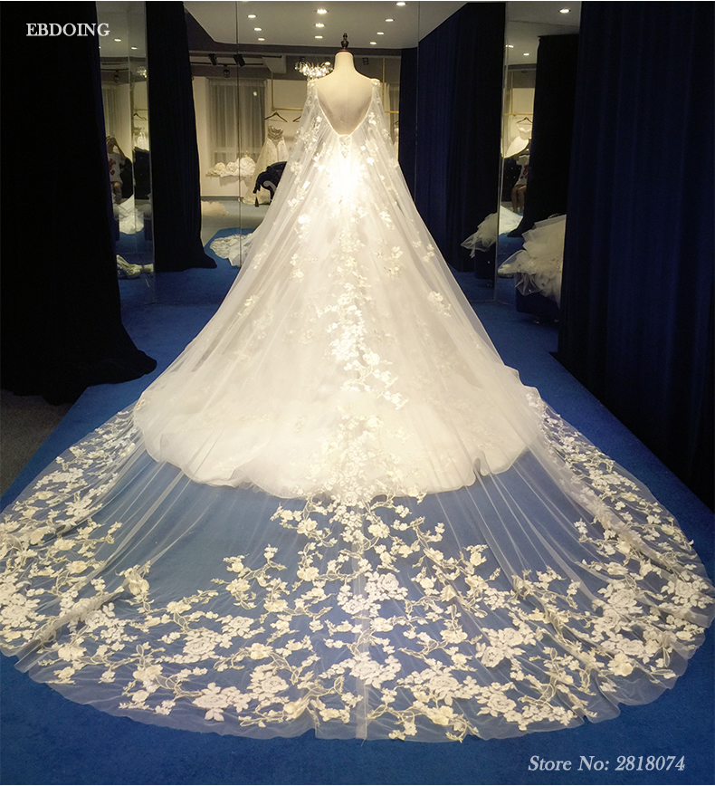 Vestidos De Novia Real Photo A-line Wedding Dresses 2018 Boat neck  Sleeveless Royal Train  With Lace Appliques Beading
