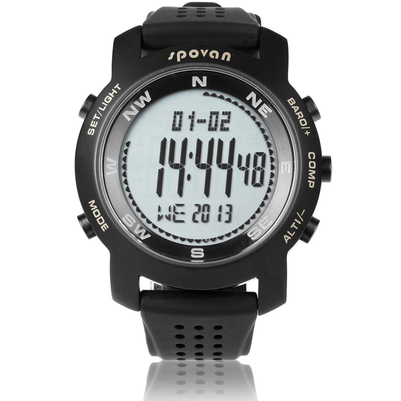 SPOVAN Professional outdoor sports Hiking watch with digital compass altitude meter barometer,thermometer,stopwatch,
