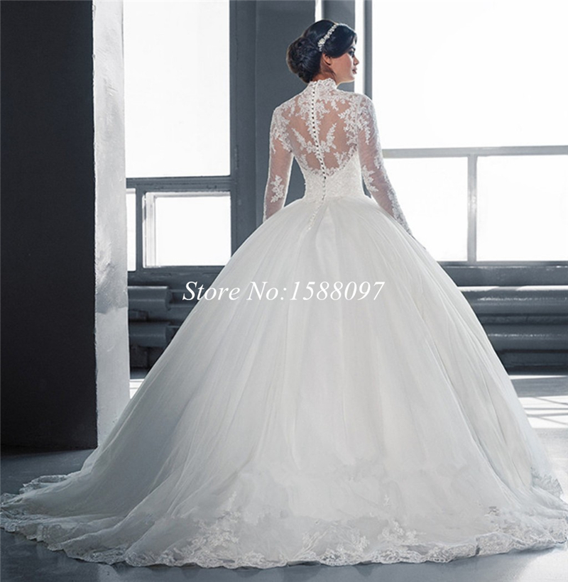 Beautiful White Ball Gown Wedding Dress Lace Sheer Neckline Long Sleeve Tulle Vestidos De Noiva In Dresses From Weddings Events On