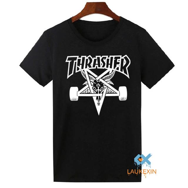 Verão 2016 Skate Thrasher Camiseta Trasher Hip Hop Tops Camisetas Harajuku Camisetas Roupas de Marca Para Mulheres Dos Homens T-shirt