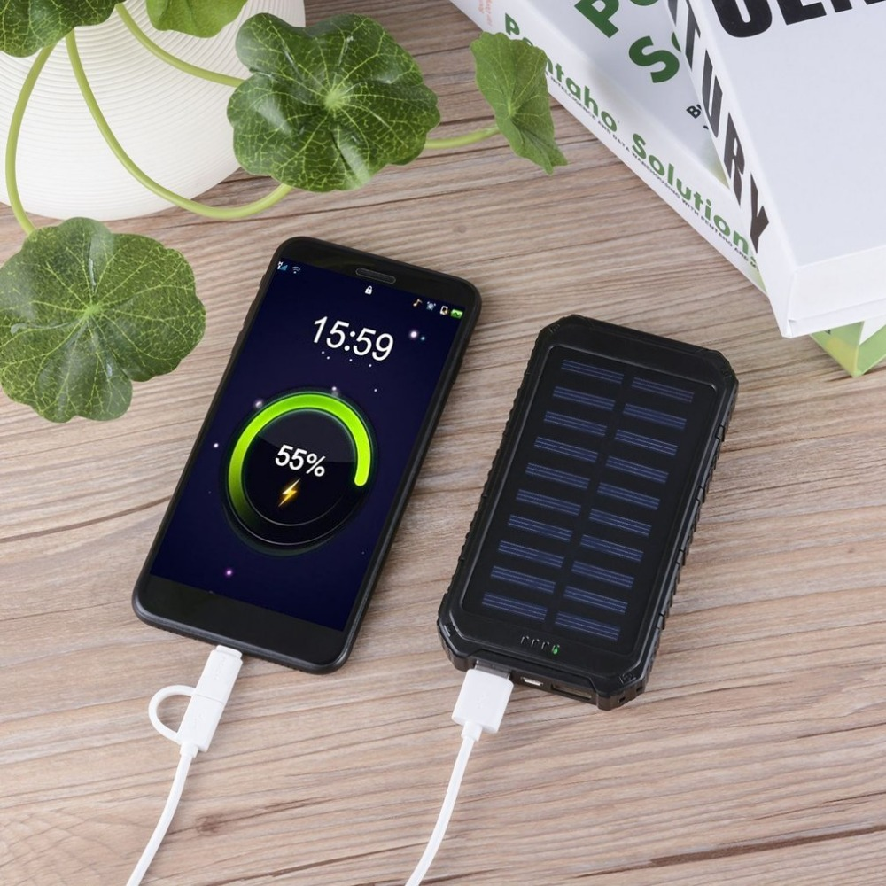 Цена за 10000 мАч солнечная энергия банк 2 Порты USB Зарядное устройство Powerbank короткого circut защиты Длительное высокое Ёмкость внешний Батарея