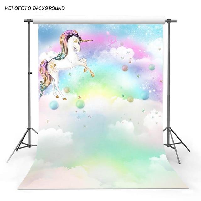 Mehofoto Unicorn Birthday Backdrop For Photography Rainbow Baby