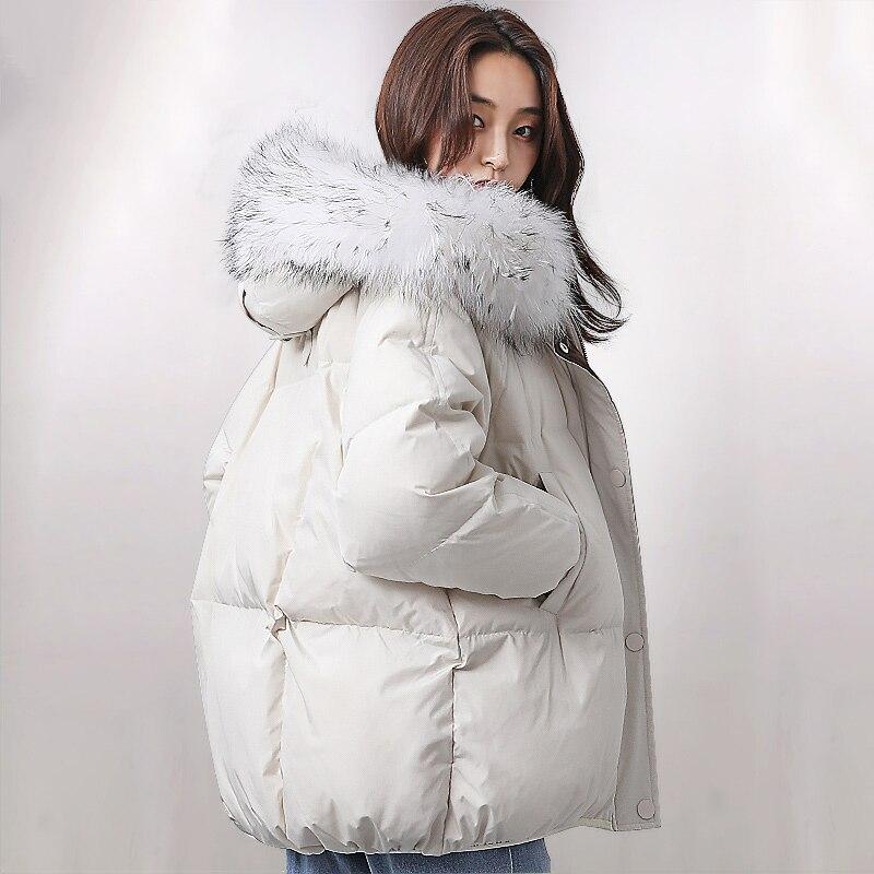 Oversized Winter Jacket Women Real Raccoon Large Fur Collar Down Jacket Women Hooded Parka 2019 Fashion Womens Winter Down Coats