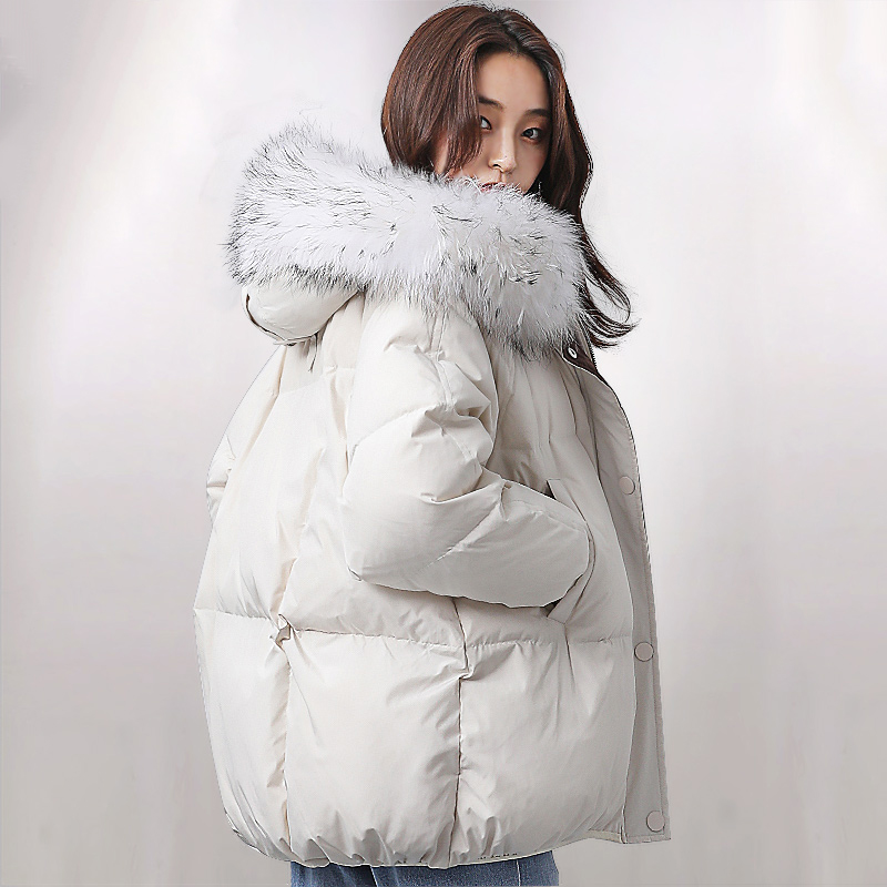 Oversized Winter Jacket Women Real Raccoon Large Fur Collar   Down   Jacket Women Hooded Parka 2019 Fashion Womens Winter   Down     Coats
