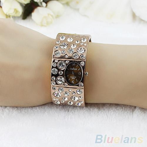 2017 New Hot Women Fashion Dial Rhinestone Crystal Bracelet Bangle Quartz Wrist Watches 02R4 4MG6 women steel bangle wrist crystal round dial analog digital bracelet watch new hot selling