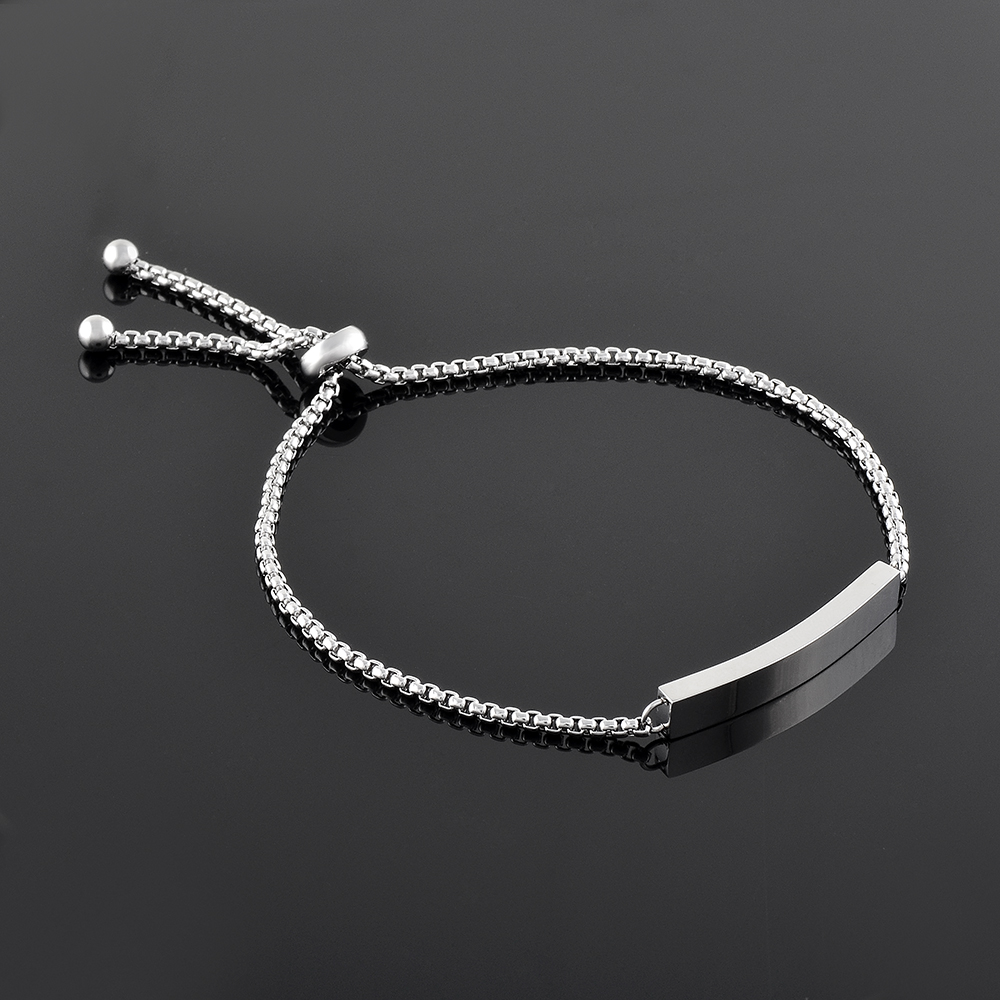 Free Engraving Womens Stainless Steel Link Chain ID Tag Identification Bracelet Female Pulseira Braslet Jewelry