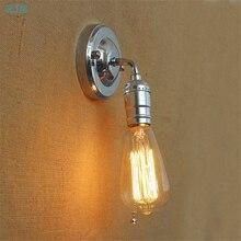 Lámparas de pared de hierro y plata Retro modernas luces de pared de Metal ajustables para candelabro de restaurante lámparas de dormitorio
