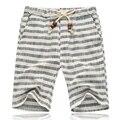 2017 novos homens marca de verão shorts shorts cinco listrado algodão linho maré masculino maré calções calções de praia homens