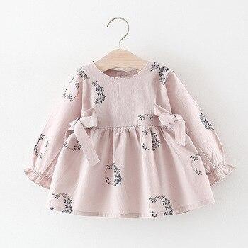 Spring Autumn Long Sleeve Baby Infants Girls Kids Printed Flora 2019 Princess Birthday Party Bow Sweet Dress Tutu Vestidos S8142