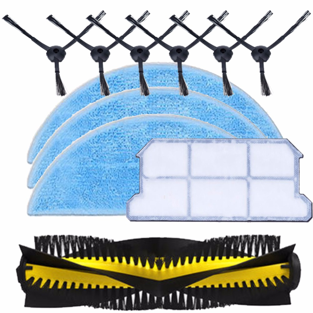 1x main brush+ 6x side brush +3x Cleaning Mop Cloth+1x hepa filter kit for chuwi ilife v7 Robotic Vacuum Cleaner parts cheapest 1pcs cleaning mopping cloth 3 pair hepa filter 3 pair cleaner side brush for dt85 dt83 dm81 vacuum cleaner for house