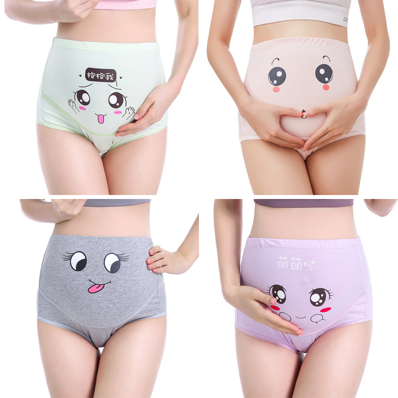 (Four Pack) Pregnant Women's Underwear, Cute Cartoon Expression, Cotton, Breathable, High Waist, No Trace, Stomach Lift