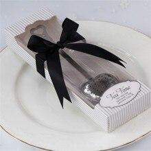 "100pcs/Lot+""Tea Time""Heart Tea Infuser Wedding Favors in White Gift Box Matching Black Ribbon Bridal Shower Favor+FREE SHIPPING"