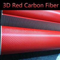 3d rosso 500mm x 1520mm in fibra di carbonio vinile strutturato con la bolla libera Aria uscita diy wrap scheda film car sticker decal car Styling