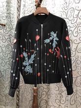2017 new women fashion heavy bead zipper short jacket coat outwear