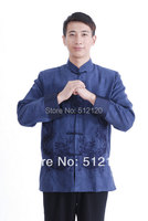 Shanghai Story new sale chinese jacket for men chinese traditional clothing double dragon jacket suede jacket Blue