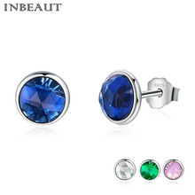 INBEAUT Women New Fashion 925 Sterling Silver 4 Color Crystal Stud Earrings with S925 Stamp Female Wedding Jewelry Birthday Gift