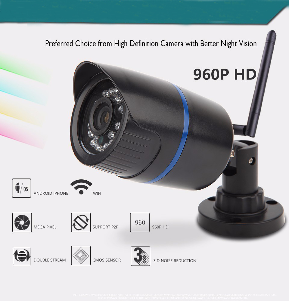WIFI 1280 x 960P 1.3MP ONVIF P2P Waterproof IP Camera 24LED Outdoor Bullet Security Camera Night Vision CCTV Cam with IR-Cut