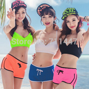 06971f3405 US $15.9 |2015 Girls Ladies Crop Top Swimwear Cute Bathing Suits Swimsuit  With Shorts,Bright Colored Bikini Cute Junior Swimsuits M L XL-in Bikinis  ...