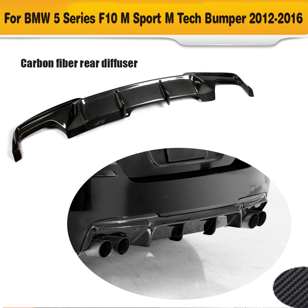5 Series carbon fiber rear bumper lip diffuser for BMW F10 M Sport Sedan 2012 - 2016 Black FRP dual exhaust two outlet carbon fiber nism style hood lip bonnet lip attachement valance accessories parts for nissan skyline r32 gtr gts