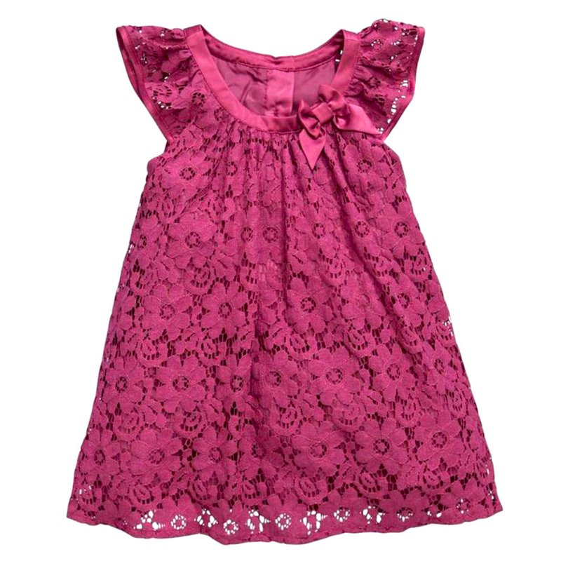 Summer Children Kids Girls Cute Red Lace Princess Lovely Short Tulle Party Mini Dress 2-7Years girls europe and the united states children s wear red princess long sleeve princess dress child kids clothing red bow lace