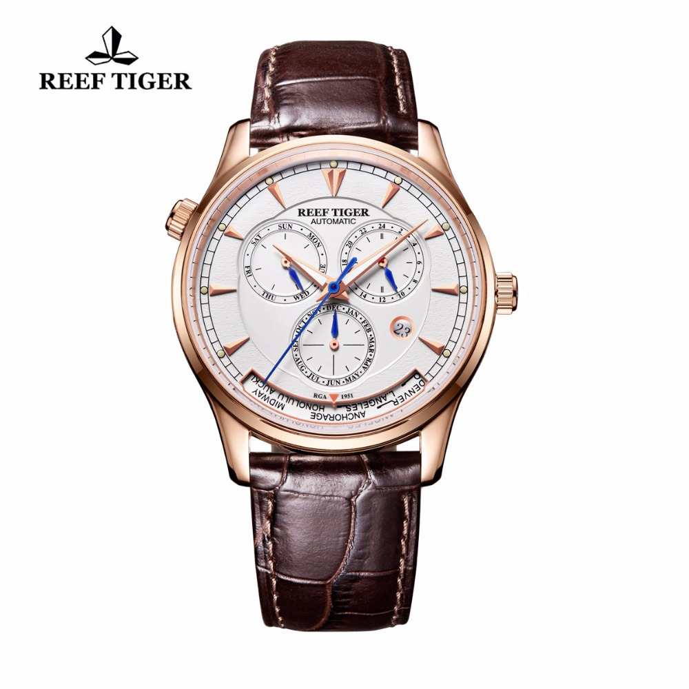 Reef Tiger/RT Mens Automatic World Time Watches with Date Day Month Rose Gold Leather Strap Watch RGA1951 rover time rt 255