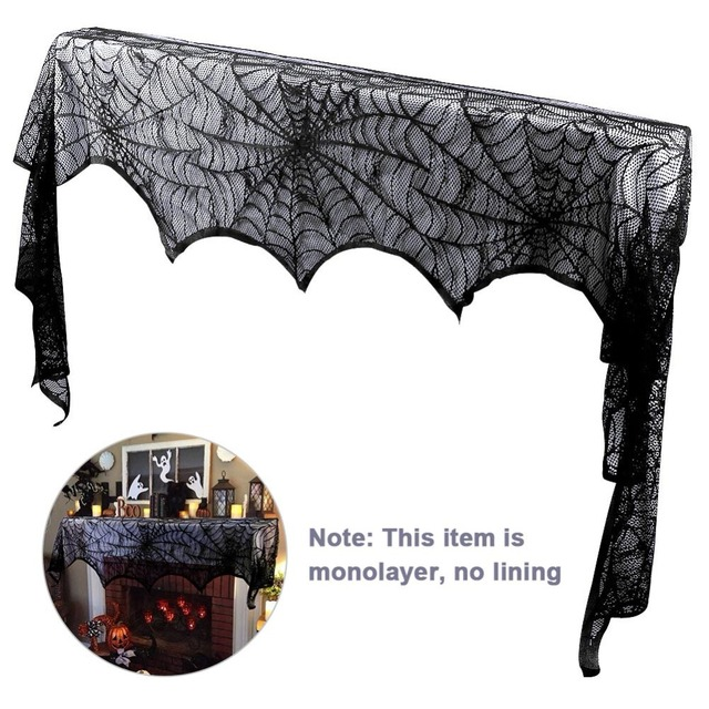 OurWarm Black Lace Fireplace Scarf Halloween Party Decoration 18*98 inch Spider Web Cobweb Fireplace Scarf Halloween Home Decor