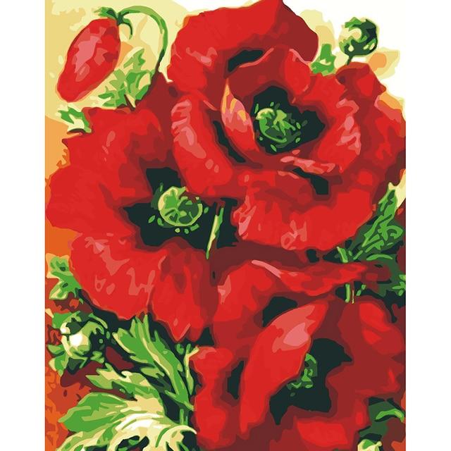 Rose Peinture A L Huile Par Numeros Diy Numerique Peinture Acrylique