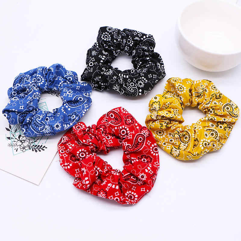Fashion Women Elastic Hair Bands Wholesale Scrunchies Ponytail Holder Bandana Scrunchie Hair Ties for Girls Accessories