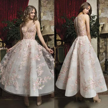 Lisong Fabulous Pink Floral Prom Sheer Jewel Neck A Line Short Dress Ankle  Length. US  170.10   piece Free Shipping b12af0f0e420