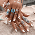 Artilady fashion boho jewelry 9pcs set ring Bohemia style antic silver rings for women jewelry party gift