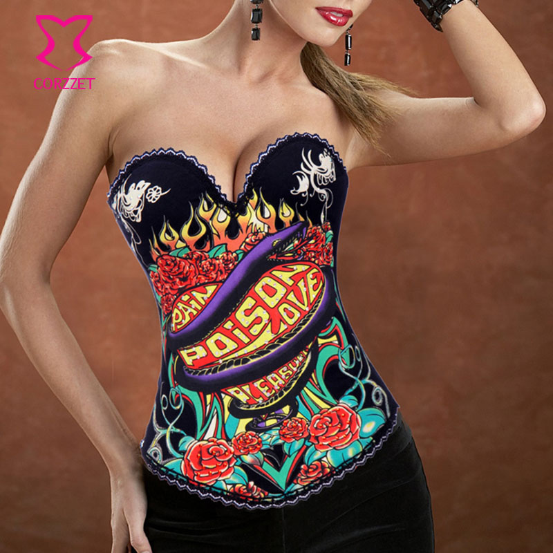 Burlesque Snake & Flowers Pattern Corselet Overbust Push Up   Corsets   Women Corpetes E Espartilhos Sexy Gothic   Corset     Bustier   Top