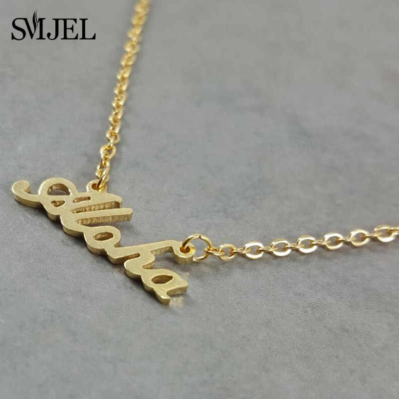 SMJEL Hawaii Aloha Necklaces Personalize Beach Chain Necklace & Pendant Letter Jewelry Wholesale Custom Gifts