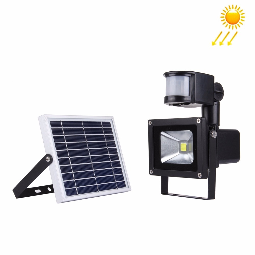 LED Flood Light 10W 900LM IP65 Waterproof LED Infrared Sensor Floodlight Lamp Solar Power LED Lighting Outdoor Decoration Graden the counterlife