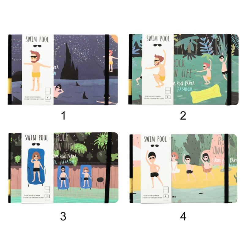 Fresh style notebook swim pool cartoon pattern paper cover notebook journal diary giftFresh style notebook swim pool cartoon pattern paper cover notebook journal diary gift