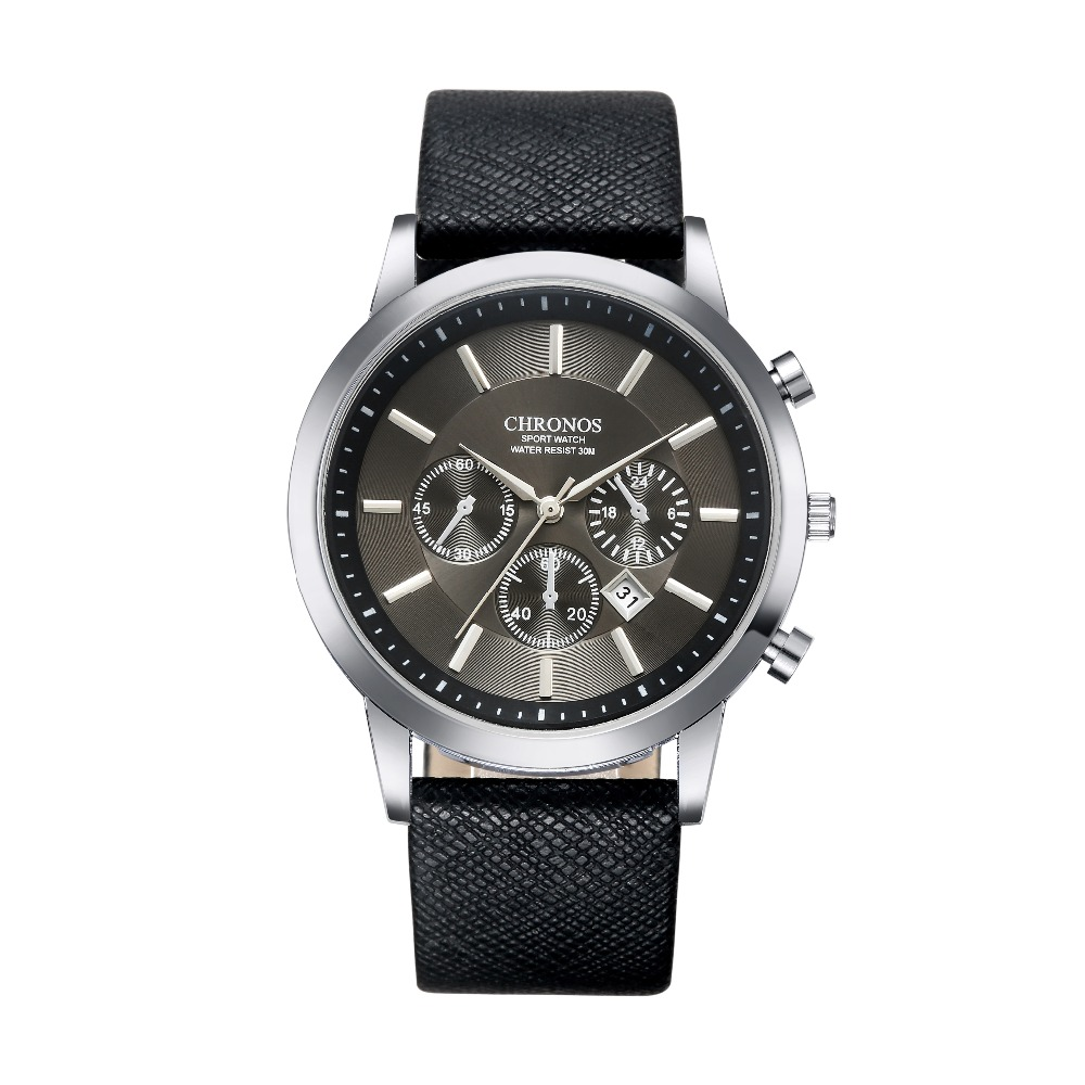 CHRONOS Mens Watches Top Brand Luxury Leather Wrist Watch Men Watch Men's Fashion Casual Sport Quartz Watch Male Clock Relogio chronos brand fashion men s watch casual ladies quartz watch simple nylon strap hit color couple watch relogio masculino