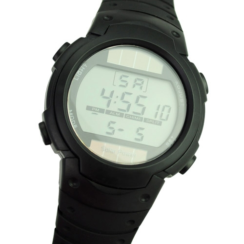 Unisex Solar Power and Li-ion Battery Digital Watch with Functions of Calendar/EL Backlight/Snooze/Alarm/Stopwatch- Black