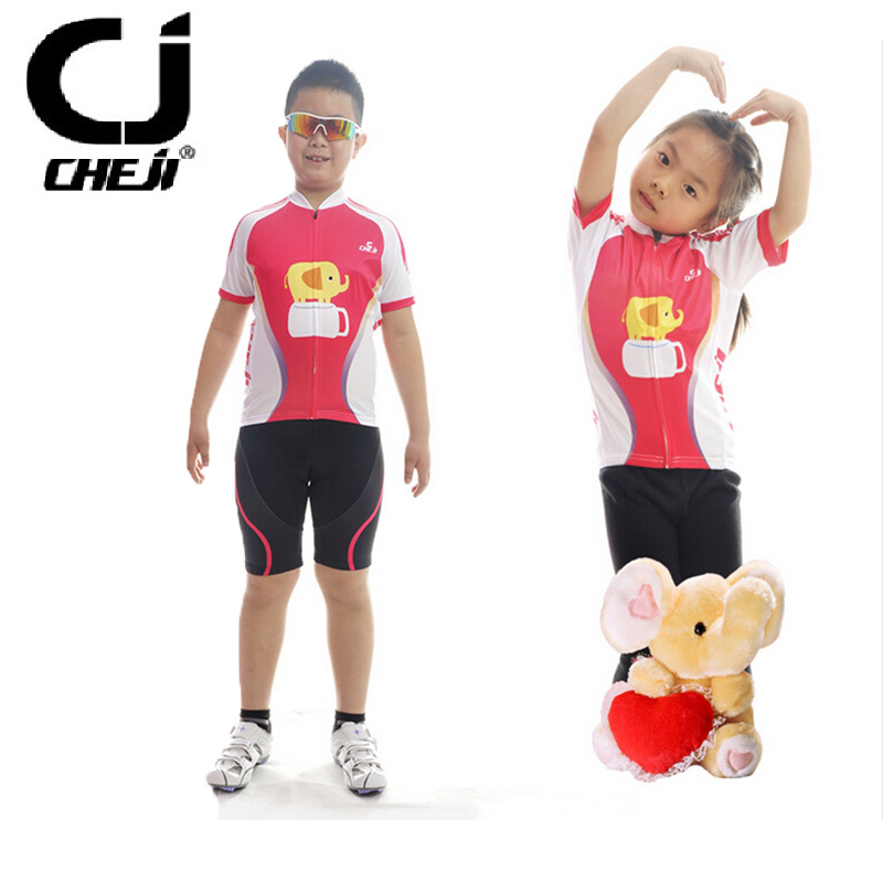 ФОТО CHEJI Boys and Girls Cycling Clothing Bicycle Sports Jersey Pink Short Sleeve Clothes Ropa Team Outdoor Sportswear Set