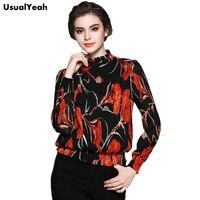 USUALYEAH 2016 Women Elegant Long Sleeved Casual Shirt Red Flower Elastic Hem Short Blouse Ruffles Neck