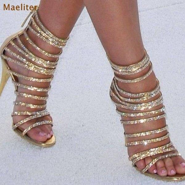 Luxurisou Bling Bling Gold Crystal Sandals Thin Strappy Gladiator Sandal Shoes Stiletto Heel Wedding Pump Rhinestone Cage Sandal