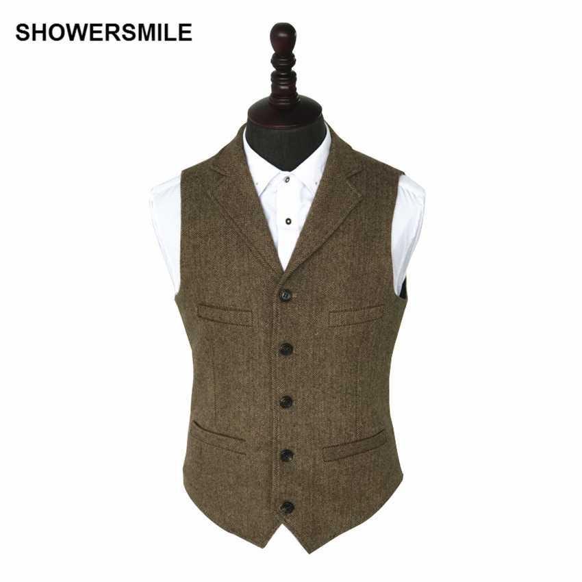 vente officielle dernière remise mieux aimé SHOWERSMILE Vintage Tweed Vest Herringbone Striped Suit Vest Light Brown  Waistcoat Vest Slim Fit Sleeveless Jacket Gilet Homme