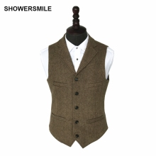SHOWERSMILE Vintage Tweed Vest Herringbone Striped Suit Light Brown Waistcoat Slim Fit Sleeveless Jacket Gilet Homme
