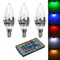 Jiawen 3pcs/lot  E14 3W Remote Controlled LED Candle Bulb Colorful Light 240lm  (AC 85~265V)