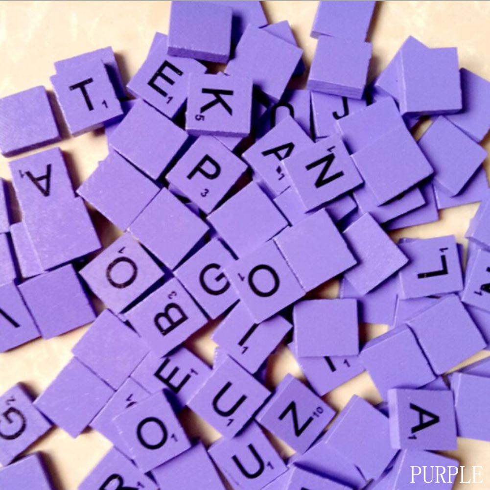 Hot 100Pcs Mixed Fun Wooden Alphabet Scrabble Tiles Black Letters & Numbers Crafts Wood intelligence Toys Baby