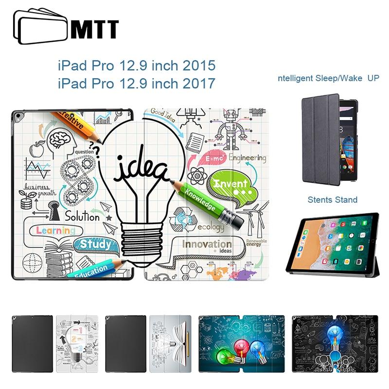 Fashion Imaginative Bulb Case for iPad Pro 12.9 2015 Release, PU Leather Tri-fold Stand Smart Cover for iPad Pro 12.9 Case 2017 цена