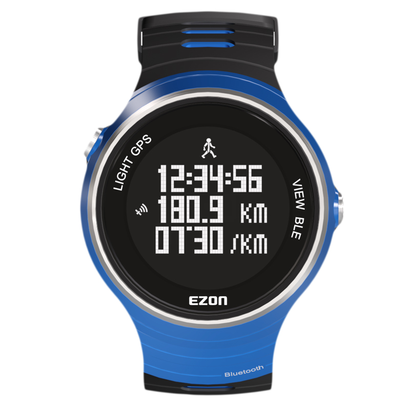 Ezon Outdoor Sports GPS Smart Watch Men Multifunctional Running Wristwatch 5ATM Waterproof Bluetooth Digital Clock G1 Blue smart baby watch q60s детские часы с gps голубые