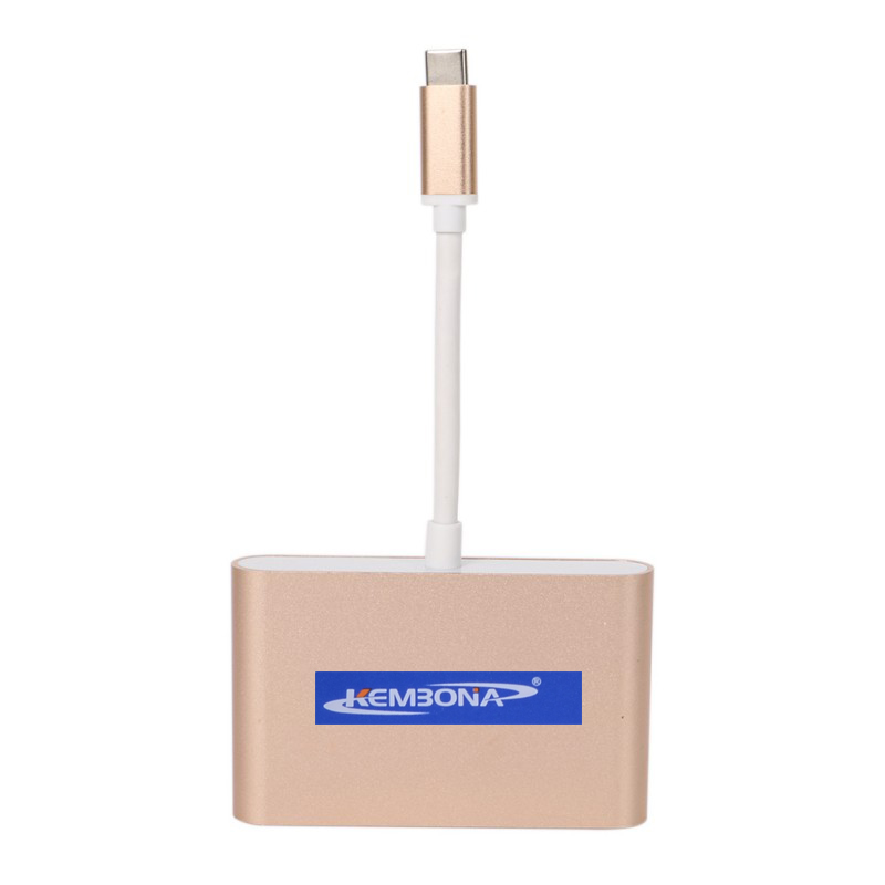KEMBONA USB 3.1 Type-C to VGA/ USB3.0/ Type C Adapter Converter Cable USB 3.0 Hub Converter Charger Adapter for Macbook USB-C samzhe type c usb3 0 usb2 0 ethernet adapter internet cable hub converter 4 ports usb converter net port adapter for macbook pc