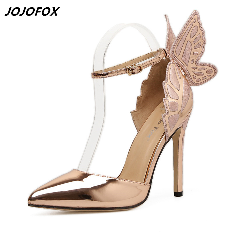 Explosive Style Wing Womens Pumps Sexy Narrow Toe Wedding Shoes Woman Mirror Leather High Heels Ladies Purple/Yellow Heels Pumps